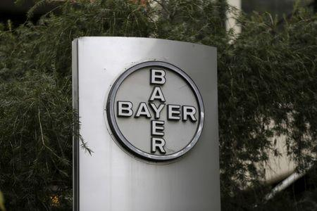 The corporate logo of Bayer is seen at the headquarters building in Caracas March 1, 2016. Picture taken March 1, 2016.  REUTERS/Marco Bello/File Photo     T