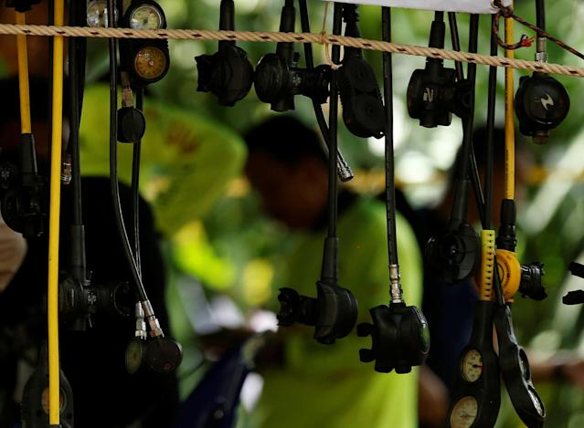 <p>Divers' equipment is seen near the Tham Luang cave complex as the search for members of an under-16 soccer team and their coach continues, in the northern province of Chiang Rai, Thailand, July 2, 2018. (Photo: Soe Zeya Tun/Reuters) </p>