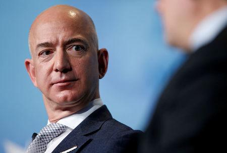 FILE PHOTO - Amazon CEO Jeff Bezos speaks in Washington