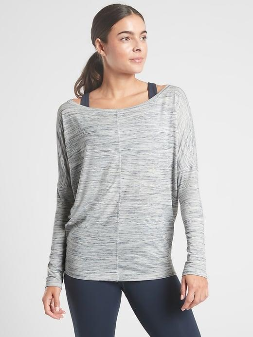 <p>The <span>Athleta Flow Top Essence Spacedye</span> ($45, originally $59) is super lightweight when you want a long-sleeved option without a lot of heft, and it has a UPF 50+ rating, too. </p>