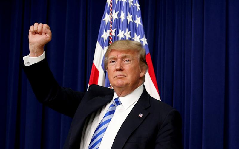 President Donald Trump pumps his fist - Credit: Reuters