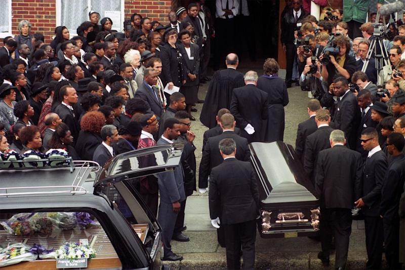 Crowds outside Stephen Lawrence's funeral