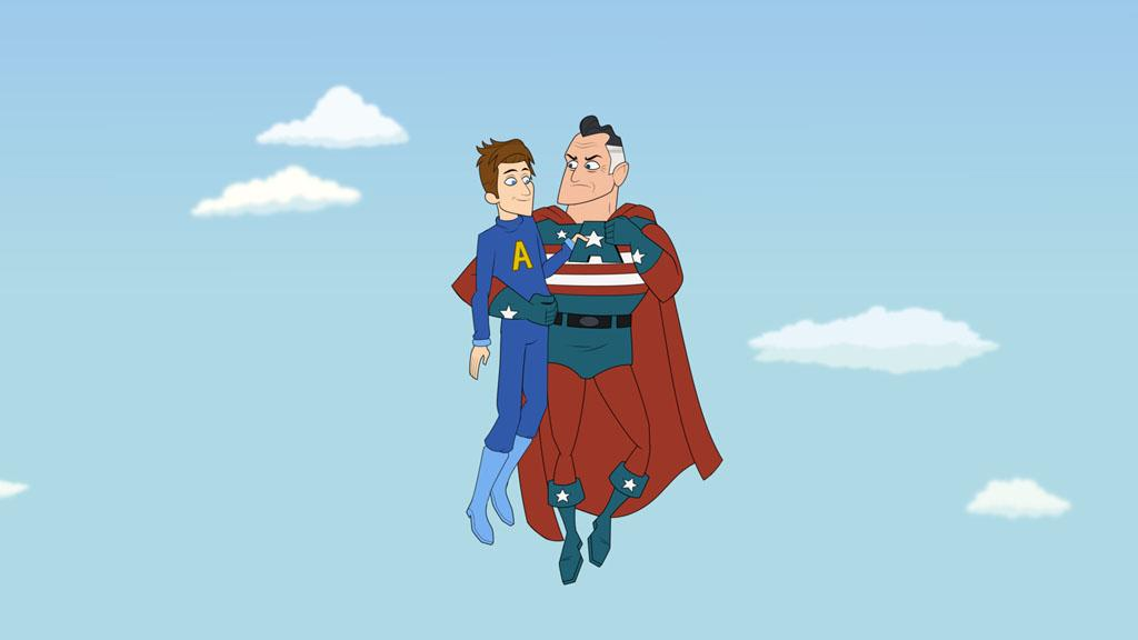 "Prock (Seth Meyers) and Mr. Awesome (Steve Higgins) in the Hulu Original Series ""The Awesomes."""