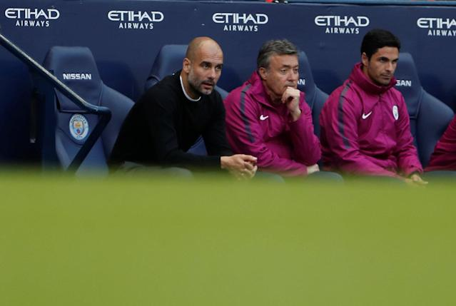 """Soccer Football - Premier League - Manchester City v Swansea City - Etihad Stadium, Manchester, Britain - April 22, 2018 Manchester City manager Pep Guardiola and co-assistant coach Mikel Arteta Action Images via Reuters/Lee Smith EDITORIAL USE ONLY. No use with unauthorized audio, video, data, fixture lists, club/league logos or """"live"""" services. Online in-match use limited to 75 images, no video emulation. No use in betting, games or single club/league/player publications. Please contact your account representative for further details."""