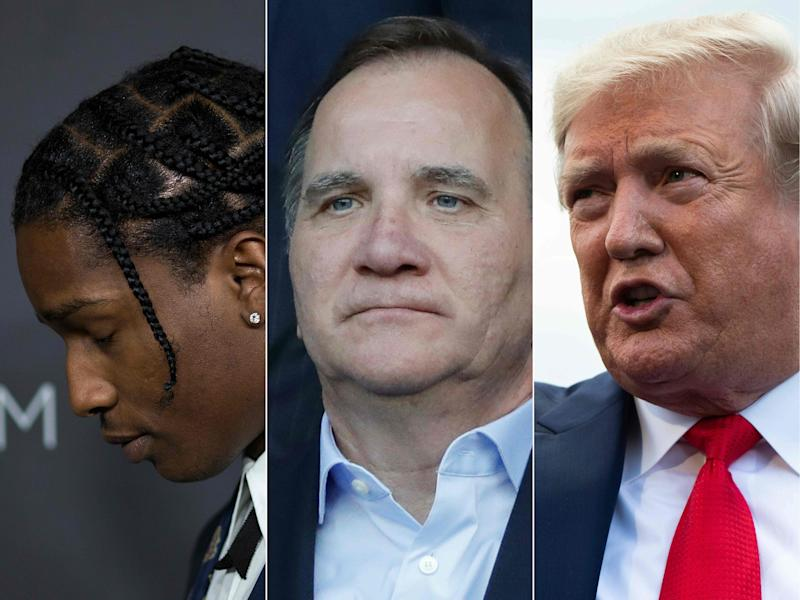 This combo photo shows recording artist A$AP Rocky (L) in Los Angeles in 2016; Swedish Prime minister Stefan Lofven (C) in Paris in June and President Donald Trump (R) at the White House in Washington, DC in July. Sweden on July 25, 2019, rebuffed Trump's demand that Sweden free the rapper Rocky, who goes on trial next week on assault charges involving an altercation in Stockholm three weeks ago.
