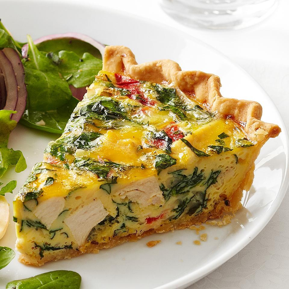 <p>This quiche is loaded with chicken, spinach, roasted red peppers and shredded cheese. Using a pre-made pie crust in this recipe cuts down on prep time.</p>