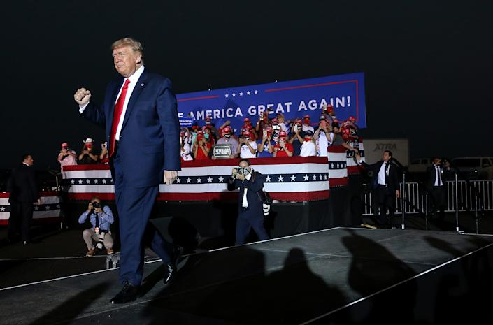 President Donald Trump holds a campaign rally at the Minden-Tahoe Airport in Nevada on Sept. 12, 2020.