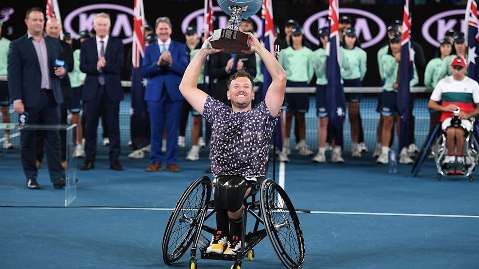 Dylan Alcott won his sixth-straight Australian Open title earlier in 2020. (Photo by MANAN VATSYAYANA/AFP via Getty Images)