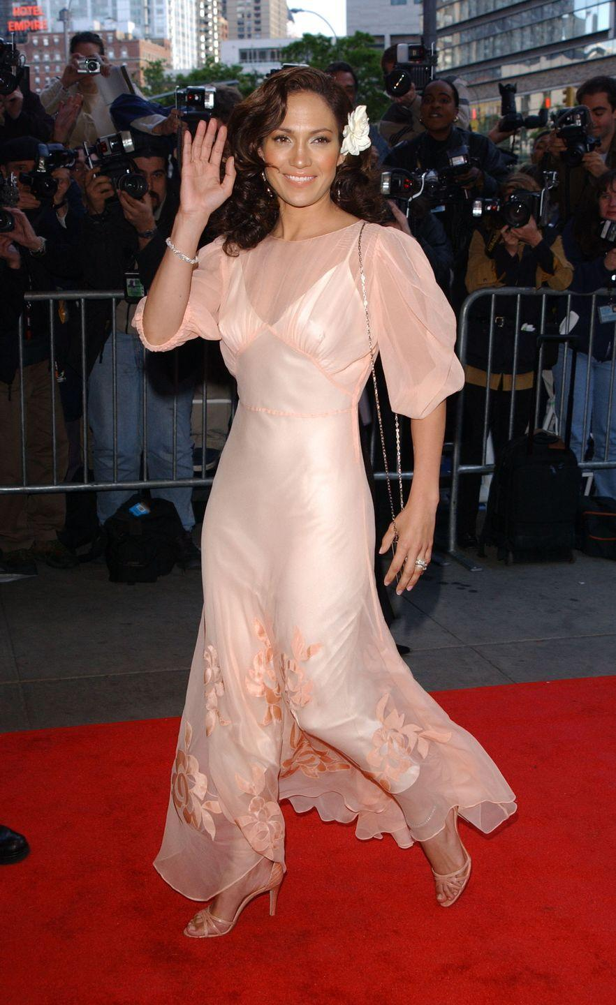 <p><strong>When: </strong>May 2002</p><p><strong>Where: </strong>Enough premiere</p><p><strong>Wearing: </strong>A sheer pink dress</p>