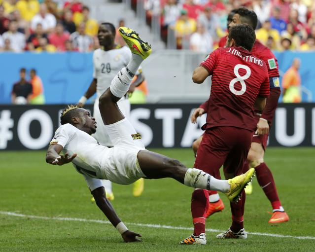 Ghana's John Boye scores an own goal during their 2014 World Cup Group G soccer match against Portugal at the Brasilia national stadium in Brasilia June 26, 2014. REUTERS/Jorge Silva (BRAZIL - Tags: SOCCER SPORT WORLD CUP)