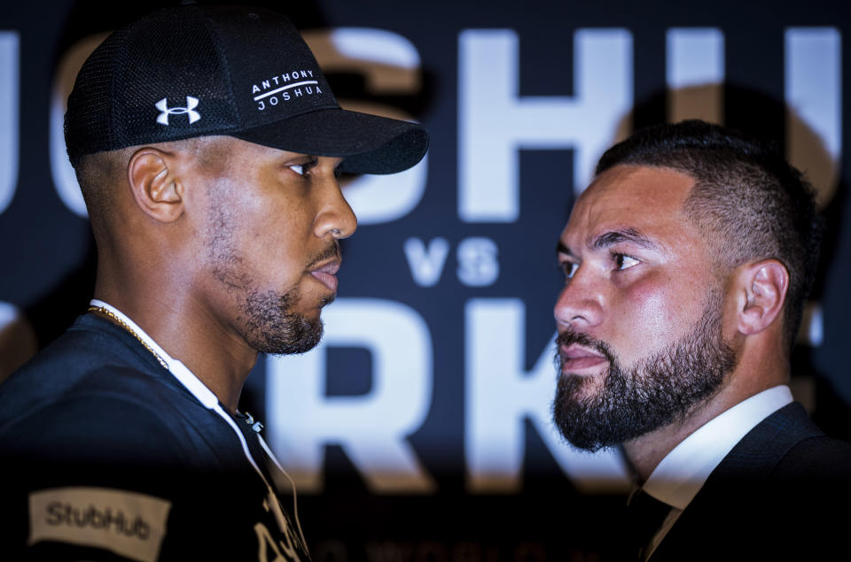 The March 31 heavyweight title unification bout between IBF-WBA champion Anthony Joshua (L) and WBO champ Joseph Parker will be televised live in the U.S. on Showtime. (Getty Images)
