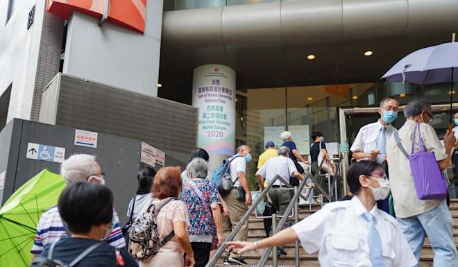 More than 100 people queued up on Thursday morning to pick up a form. Photo: Sam Tsang