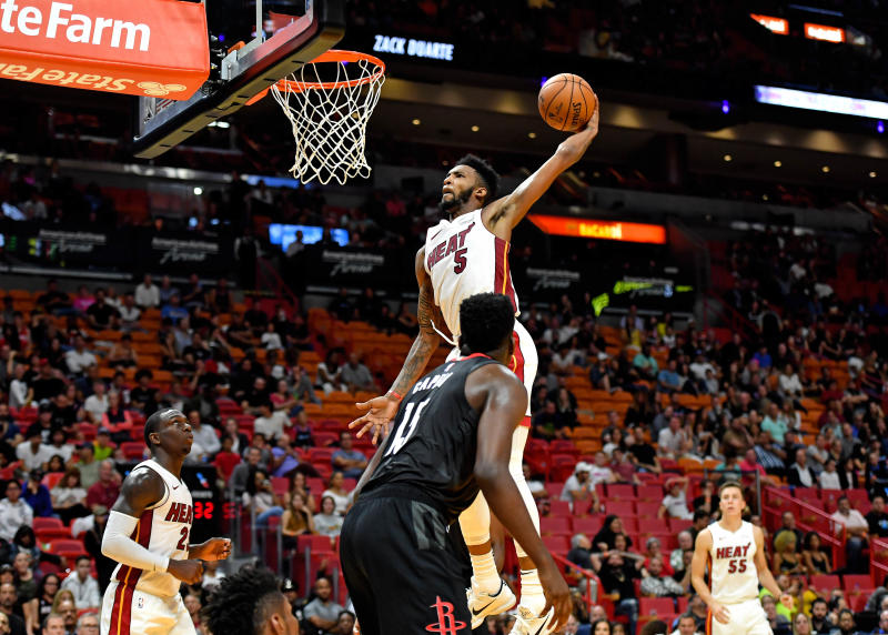 High flyer Derrick Jones Jr. delivered an early entrant to his 2019-20 highlight reel on Wednesday. (File/Steve Mitchell/Reuters)