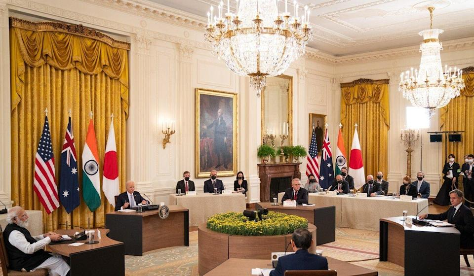 US President Joe Biden hosts a Quad leaders summit in the East Room of the White House on September 24 in Washington. Photo: Getty Images via TNS