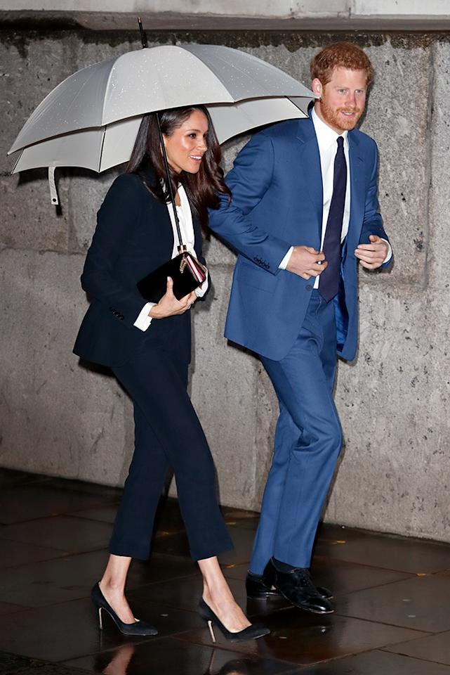 <p>The betrothed couple braved the London rain to attend the Endeavour Fund Awards ceremony at Goldsmiths' Hall on Thursday. The awards celebrate the achievements of wounded, injured, and sick servicemen and women who have taken part in remarkable sporting and adventure challenges over the last year. (Photo: Max Mumby/Indigo/Getty Images) </p>
