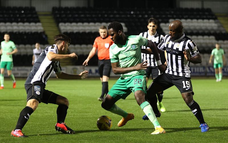 Celtic's Odsonne Edouard (centre) battles for the ball with St Mirren's Conor McCarthy (left) and Junior Morias during the Scottish Premiership match at the Simple Digital Arena - PA