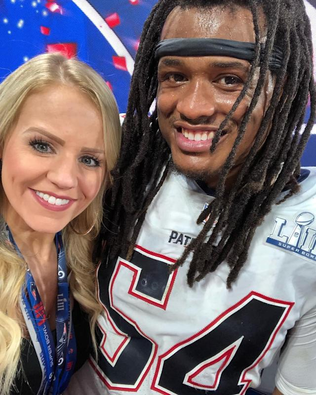 <p>Dont'a Hightower and his girlfriend Morgan Hart take a selfie after the Patriots Super Bowl victory.(Instagram/morganhart) </p>