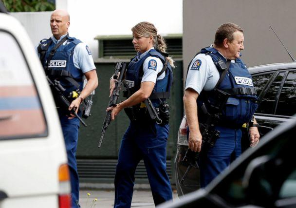 PHOTO: Armed police patrol outside a mosque in central Christchurch, New Zealand, Friday, March 15, 2019. (AP)
