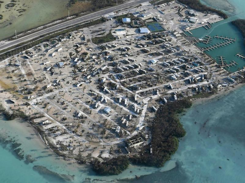Overturned trailer homes are shown in the aftermath of Hurricane Irma in the Florida Keys (Matt McClain/The Washington Post via AP)