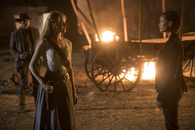 Dolores (Evan Rachel Wood) and Maeve (Thandie Newton) enjoy a 'Westworld' reunion (Photo: HBO)