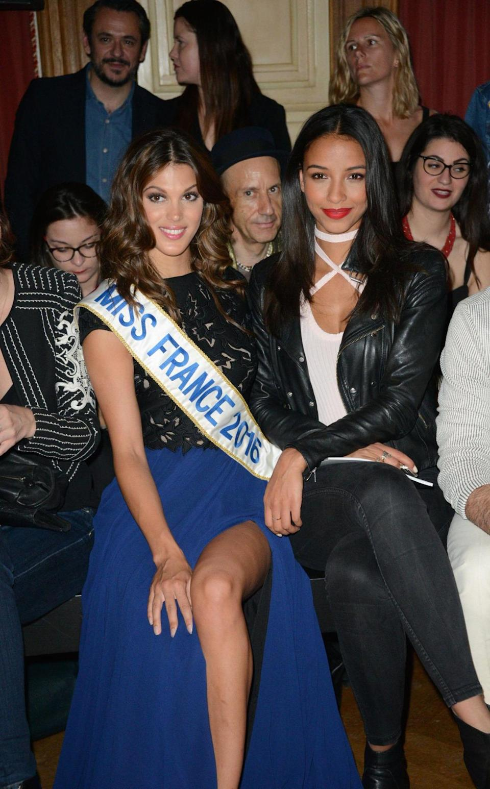 <p>Tony Ward had none other than Miss France on his Parisian FROW. <i>[Photo:LAURENT BENHAMOU/SIPA/REX/Shutterstock]</i></p>