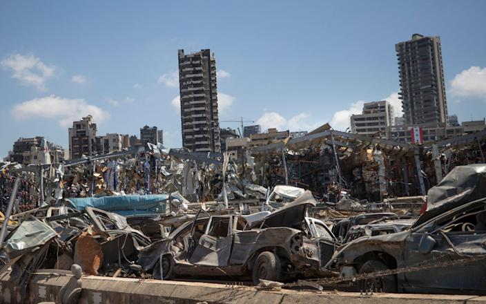 The damage from the blast in Beirut on 4 August - AP