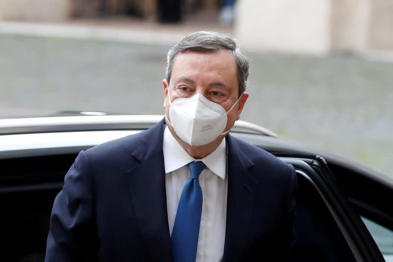 FILE PHOTO: Former European Central Bank President Mario Draghi arrives for a meeting with Italian President Sergio Mattarella at the Quirinale Palace in Rome