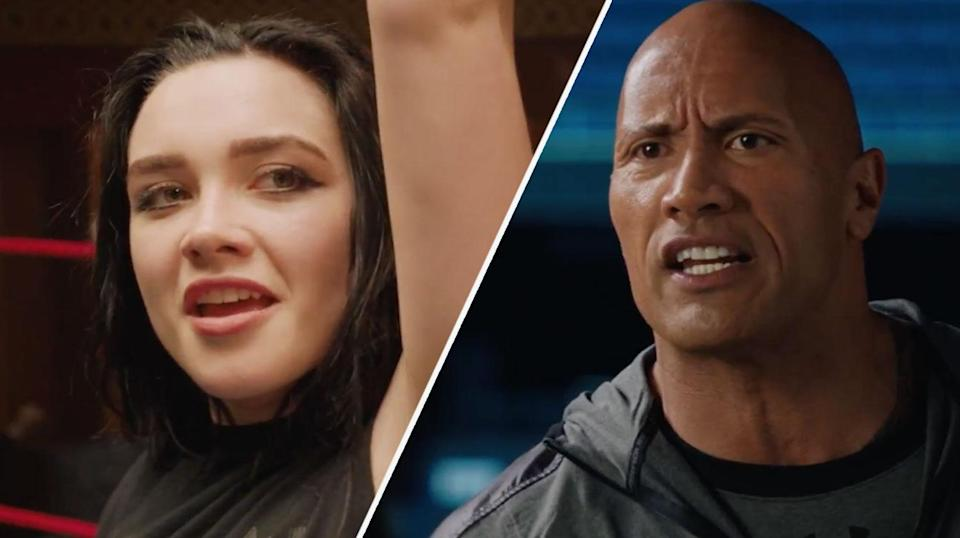 Florence Pugh and The Rock star in the first trailer for Stephen Merchant's WWE drama (Lionsgate/MGM)