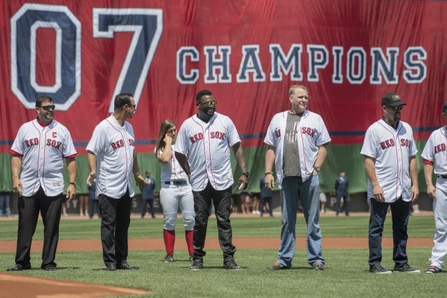Curt Schilling took part in celebrating the 2007 Red Sox during the 2017 season. (Getty)