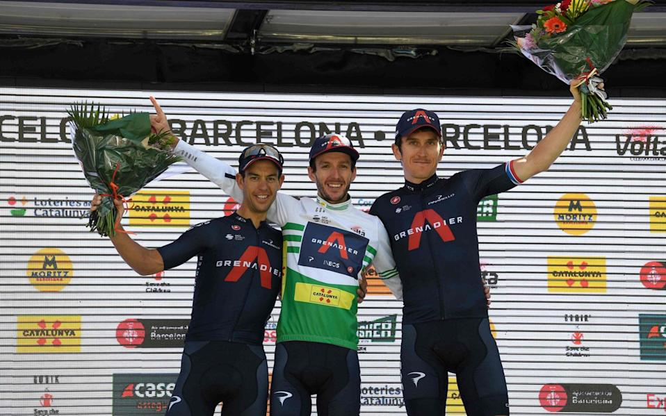 Richie Porte (left to right), Adam Yates and Geraint Thomas - Adam Yates wins Volta a Catalunya as Ineos Grenadiers complete podium clean sweep - GETTY IMAGES