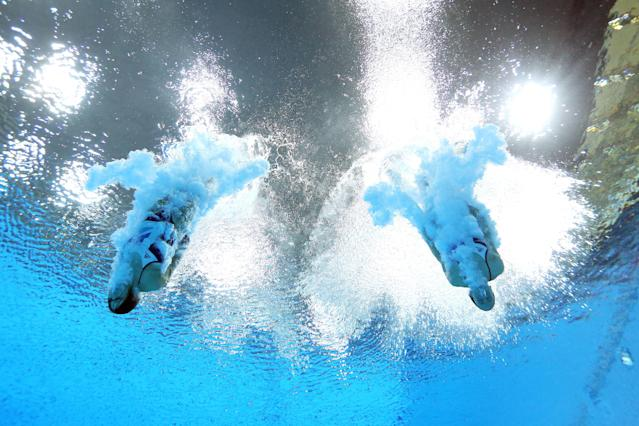 LONDON, ENGLAND - JULY 29: Rebecca Gallantree and Alicia Blagg of Great Britain compete in the Women's Synchronised 3m Springboard final on Day 2 of the London 2012 Olympic Games at the Aquatics Centre at Aquatics Centre on July 29, 2012 in London, England. (Photo by Al Bello/Getty Images)