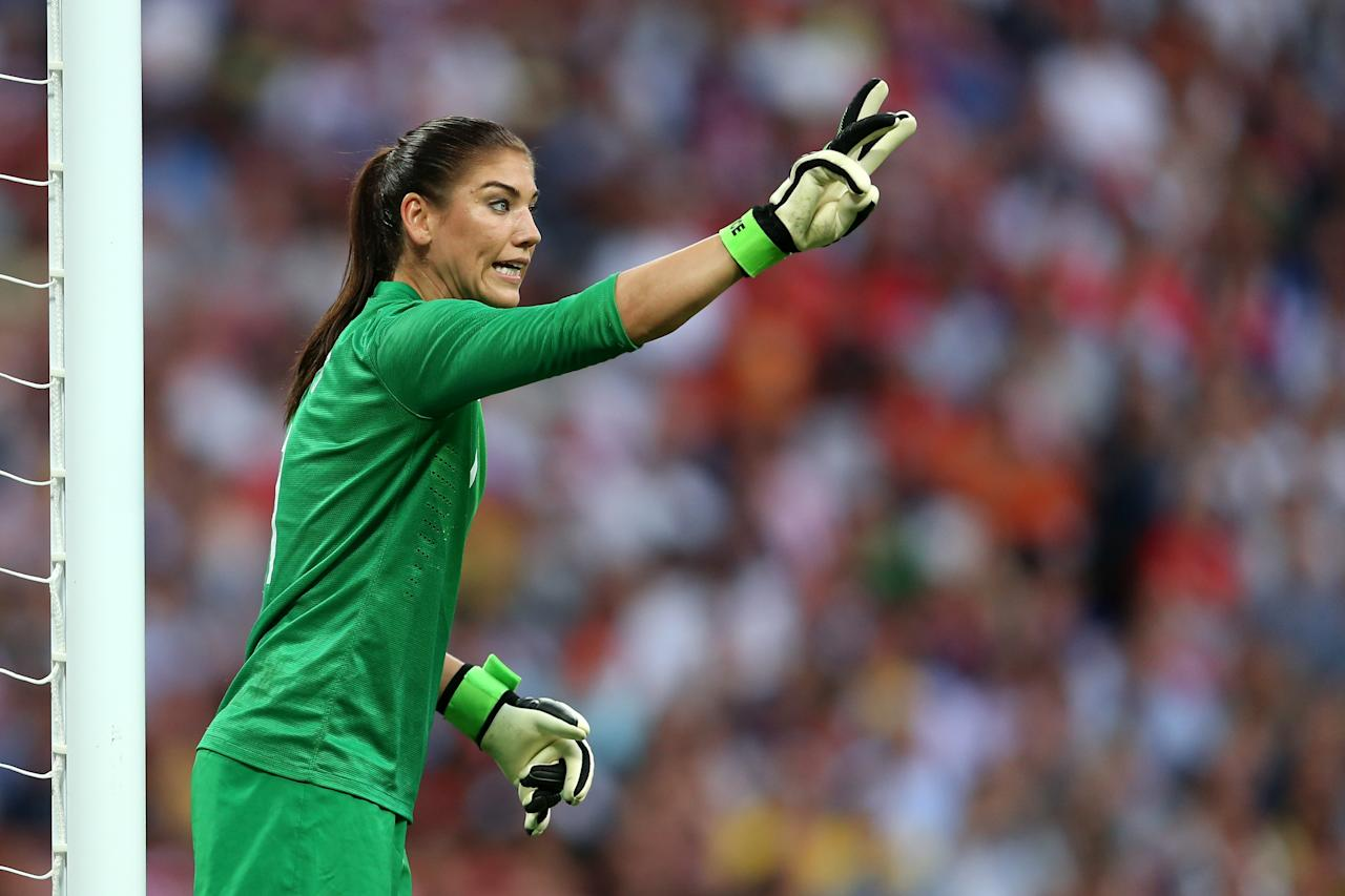 LONDON, ENGLAND - AUGUST 09:  Goalkeeper Hope Solo #1 of United States calls out from goal in the first half while taking on Japan during the Women's Football gold medal match on Day 13 of the London 2012 Olympic Games at Wembley Stadium on August 9, 2012 in London, England.  (Photo by Julian Finney/Getty Images)
