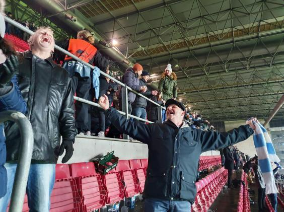 Malmo supporters celebrate in the home section (Lee Roden)