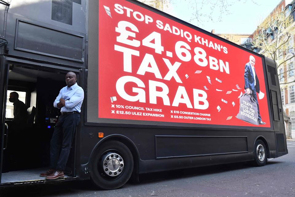 <p>Shaun Bailey: His campaign pays £300 a day to drive a polluting bus across London</p> (AFP via Getty Images)