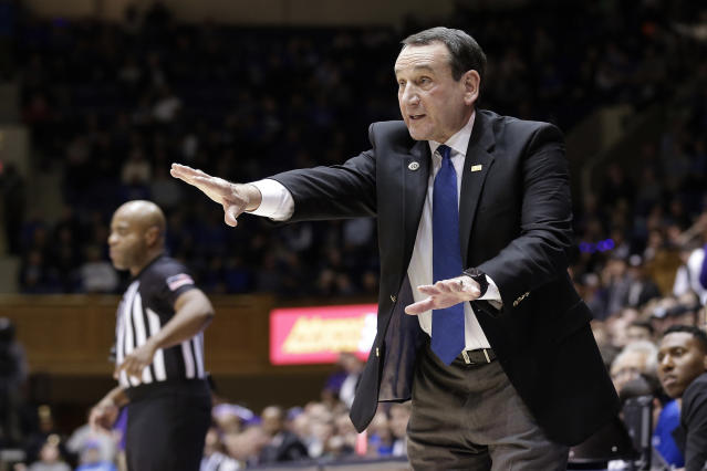 "FILE - In this Nov. 12, 2019, file photo, Duke head coach Mike Krzyzewski reacts to a play during an NCAA college basketball in Durham, N.C. Right now, were asking experts to give us guidance -- life and death in some respects, Krzyzewski said. ""People should pay close attention, he said, or else were not being real smart. (AP Photo/Gerry Broome, File)"