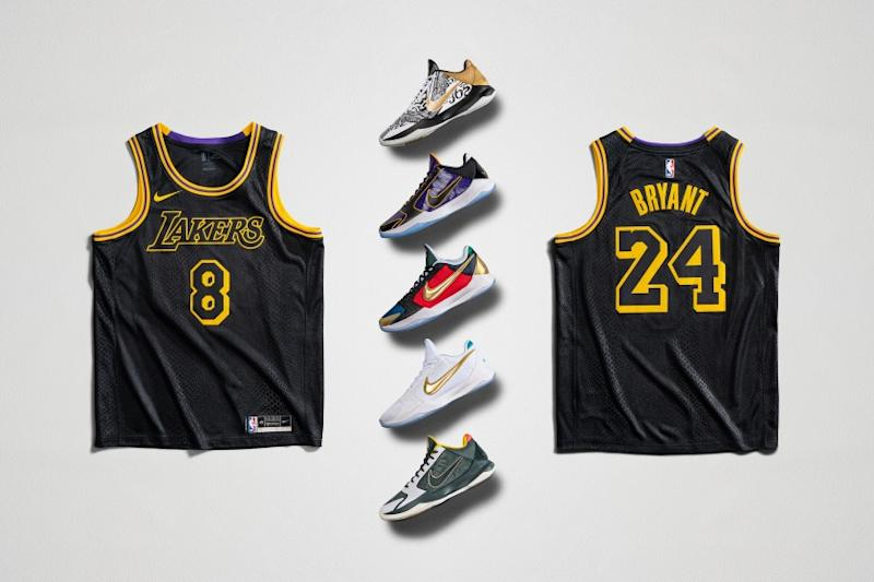Nike's Mamba Week merchandise includes five new versions of the Kobe V Protro sneaker silhouette and a jersey bearing Bryant's two jersey numbers.