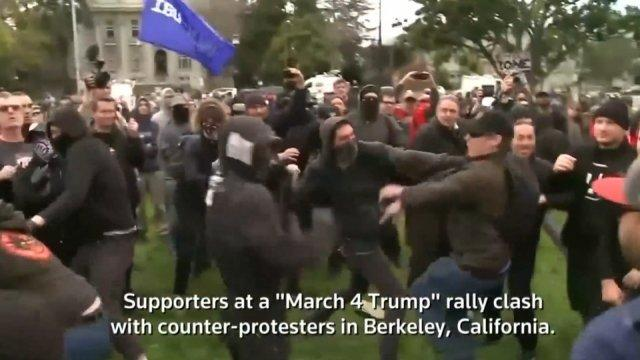 Pro and anti-Trump protesters clash in Berkeley