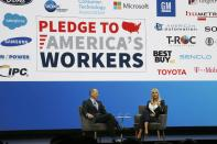 Ivanka Trump, right, the daughter and senior adviser to U.S. President Donald Trump, answers a question as she is interviewed by Gary Shapiro, left, CEO of the Consumer Technology Association, during the CES tech show Tuesday, Jan. 7, 2020, in Las Vegas. (AP Photo/Ross D. Franklin)