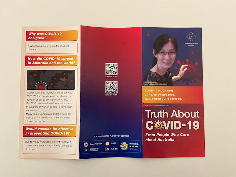 Photo shows booklet named the 'truth about Covid-19' that was distributed in Sydney.