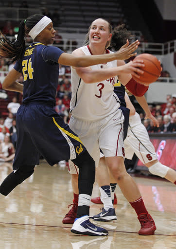 Stanford's Mikaela Ruef drives toward the basket past California's Courtney Range during the first half of an NCAA college basketball game, Thursday, Jan. 30, 2014 in Berkeley, Calif. (AP Photo/George Nikitin)