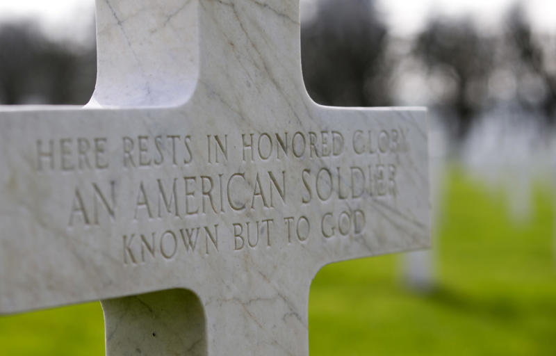 FILE - In this March 24, 2017 file photo, a gravestone marker for an unknown American soldier sits in the rows crosses at the Meuse-Argonne American cemetery in Romagne-sous-Montfaucon, France. It was America's largest and deadliest battle ever, with 26,000 U.S. soldiers killed and tens of thousands wounded. A hundred years ago, the Meuse-Argonne offensive contributed to bring an end to of World War One. (AP Photo/Virginia Mayo, File)