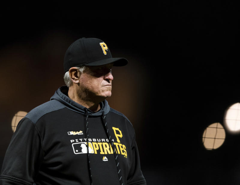 Pittsburgh Pirates manager Clint Hurdle walks off the field after switching pitchers in the game against the San Francisco Giants in the sixth inning of a baseball game in San Francisco, Monday Sept. 9, 2019. (AP Photo/John Hefti)
