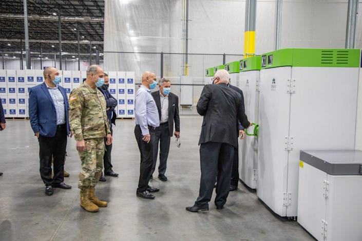Operation Warp Speed co-leaders Dr. Moncef Slaoui and Gen. Gustave Perna visit a UPS Freezer Farm in Louisville, Kentucky. The visit was among several industry visits solidifying COVID-19 vaccine distribution.