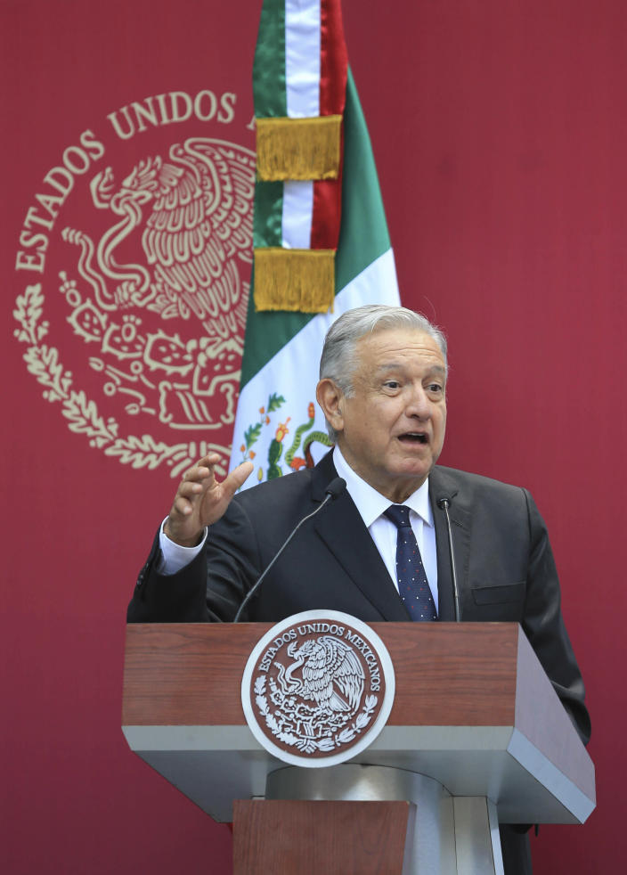 Mexican President Andres Manuel Lopez Obrador speaks to the Mexican delegation of athletes who will participate in the Pan American Games, during a send-off ceremony for them in Mexico City, Monday, July 15, 2019. Peru is hosting the Games. (AP Photo/Christian Palma)