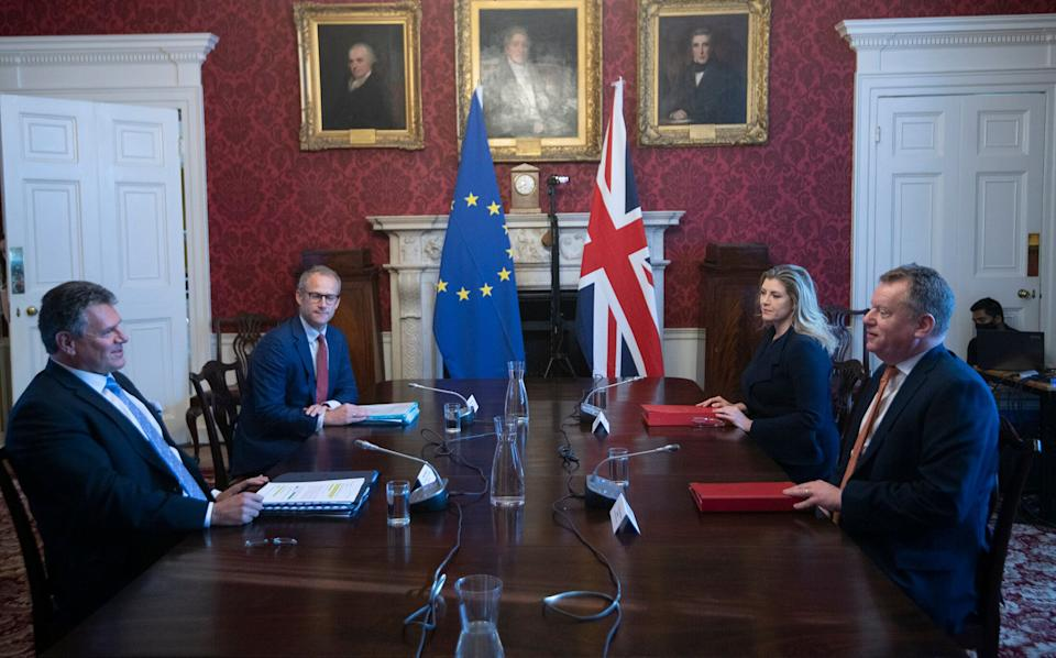 Brexit minister Lord Frost (R) holds talks with EU counterpart Maros Sefcovic (L) on the row (Photo: WPA Pool via Getty Images)