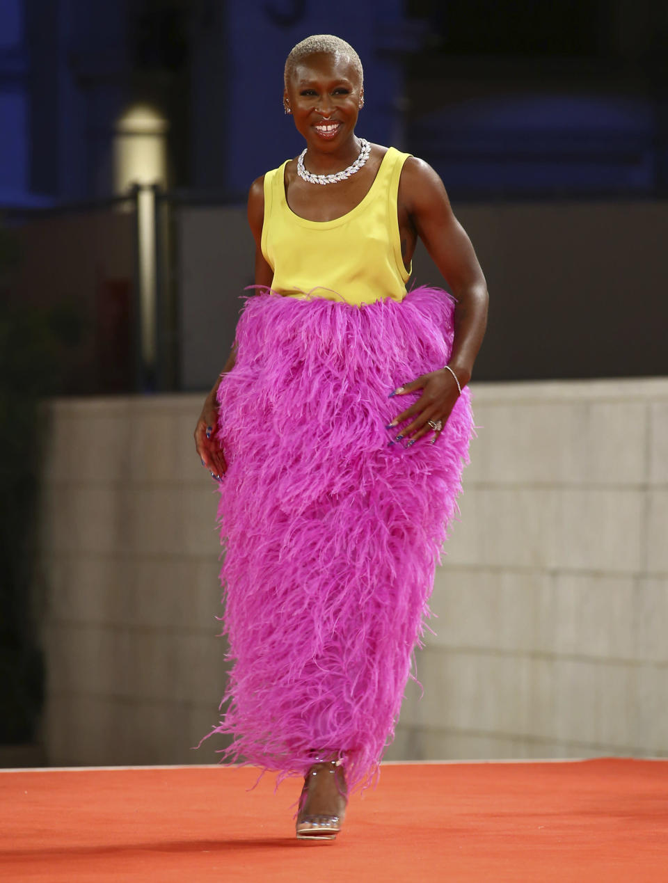 FILE - In this Sept, 3, 2021 file photo Cynthia Erivo poses for photographers upon arrival at the premiere of the film 'Last Night in Soho' during the 78th edition of the Venice Film Festival in Venice, Italy. (Photo by Joel C Ryan/Invision/AP, File)