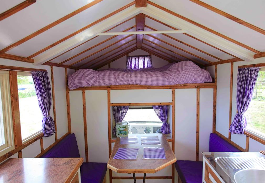 The shed comes equipped with cooker sink cupboards and bed and was designed as a house on wheels. (Pic: Supplied)