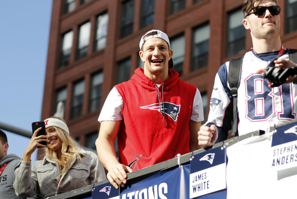 New England Patriots tight end Rob Gronkowski had his fair share of excitement at the team's Super Bowl parade in Boston. (Photo by Fred Kfoury III/Icon Sportswire via Getty Images)