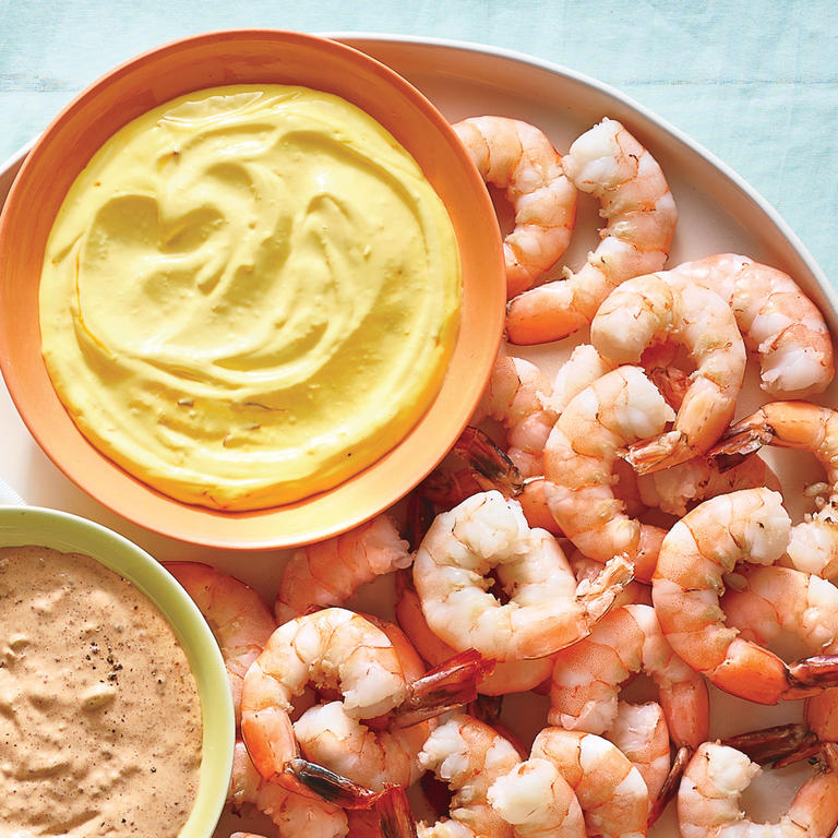 "This five-ingredient recipe couldn't be any easier to pull together and makes for a truly impressive, elegant appetizer. Spruce up store-bought mayonnaise (or make your own) with a little fresh lemon juice, a clove of fresh garlic, and an extra-special ingredient: saffron. Some specialty food shops and select grocery stores allow you to purchase smaller amounts of spices, which is great for ingredients like saffron being that it is a pricier spice and you do not want to have an excess that goes stale in your pantry before you are able to use it.  <a rel=""nofollow"" href=""http://www.myrecipes.com/recipe/chilled-shrimp-saffron-aioli"">Chilled Shrimp with Saffron Aïoli </a>"
