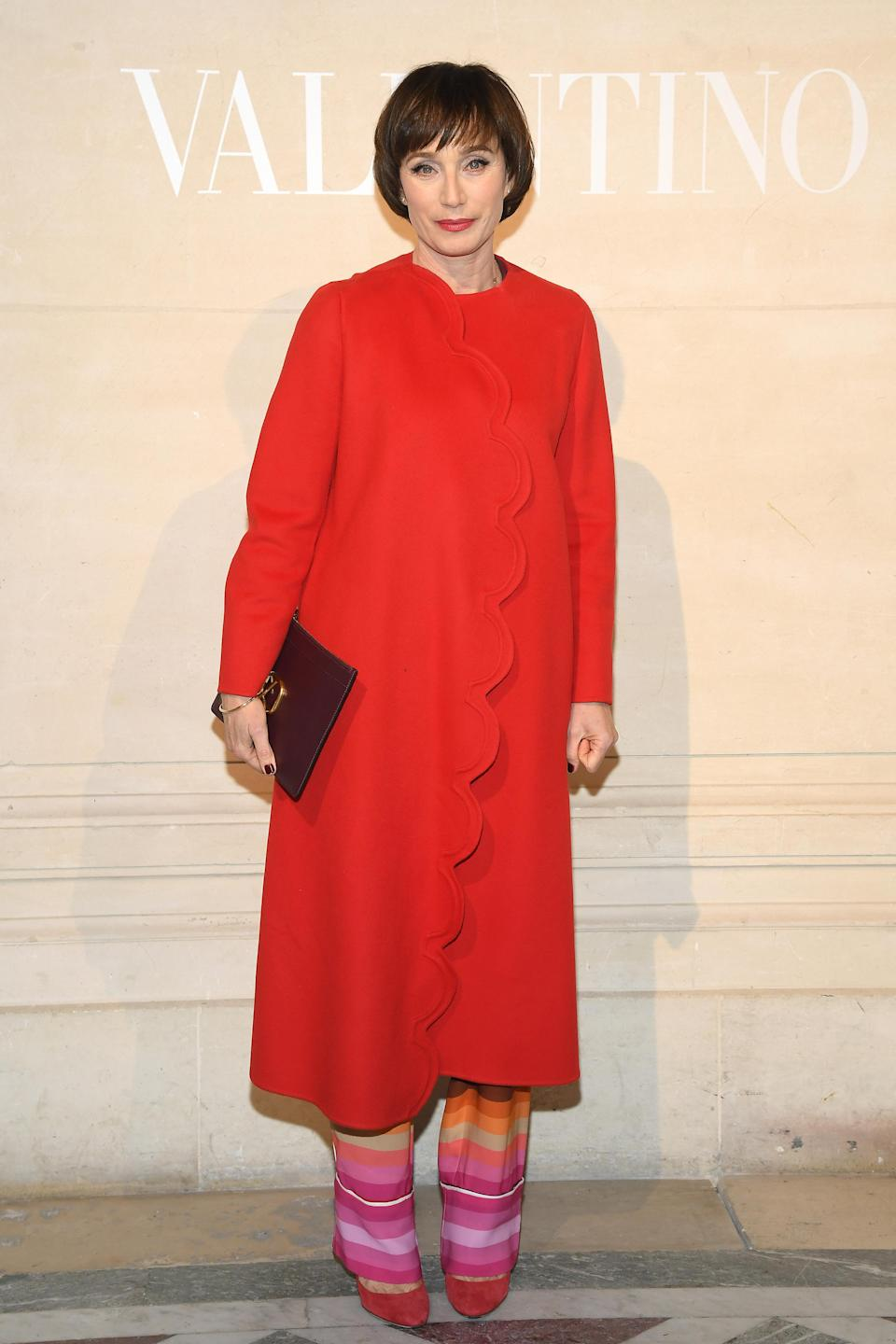 <p>Erm, does anybody else need Kristin Scott Thomas' seriously chic Valentino coat? The actress made a starring appearance on the Valentino Haute Couture FROW this season and we are <em>obsessed</em> with her entire look. <em>[Photo: Getty]</em> </p>